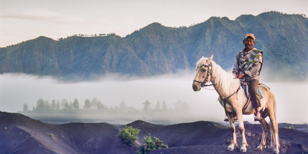 Mr. Satumat, the horseman at Mount Bromo