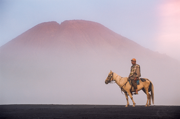 Mr. Satumat and his horse in the surreal mist