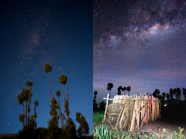 The Milky Way as seen on a full moon (left) and moonless night. The picture on the left was shot in the month of October where the (faint) Milky Way appears more vertical than the one on the right shot in May