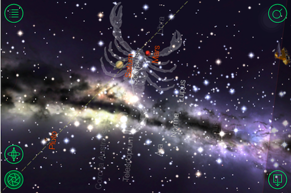 Using Star Walk on your phone or tablet allows you to see the constellations as they appear in the sky. The two mist patches you see running through the constellation Scorpio is the Milky Way.