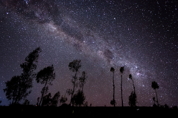 The Milky Way after boosting contrast and colour corrections on Adobe Lightroom